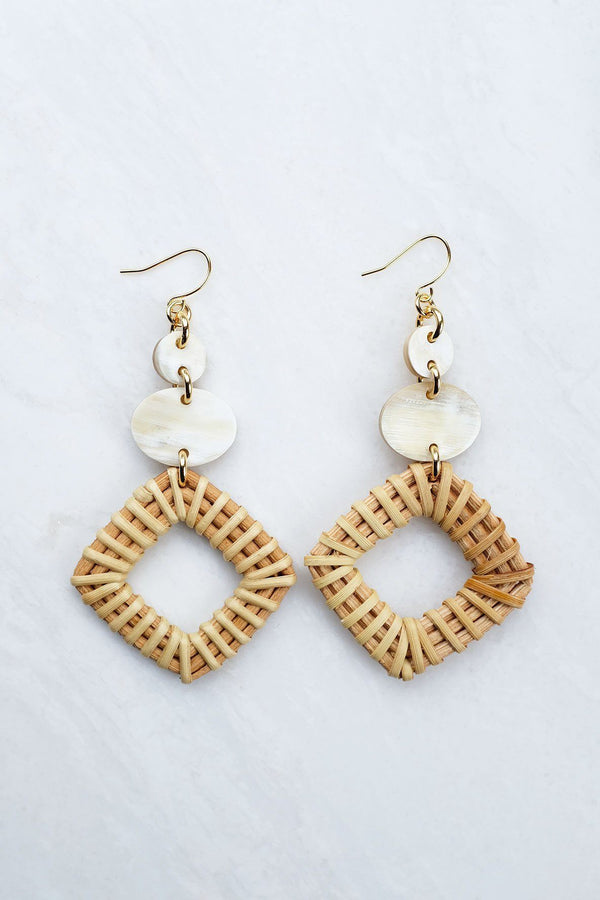 Hathorway Xuan 16K Gold-Plated Brass Buffalo Horn & Rattan/Wicker Geo Statement Earrings Earrings Hathorway