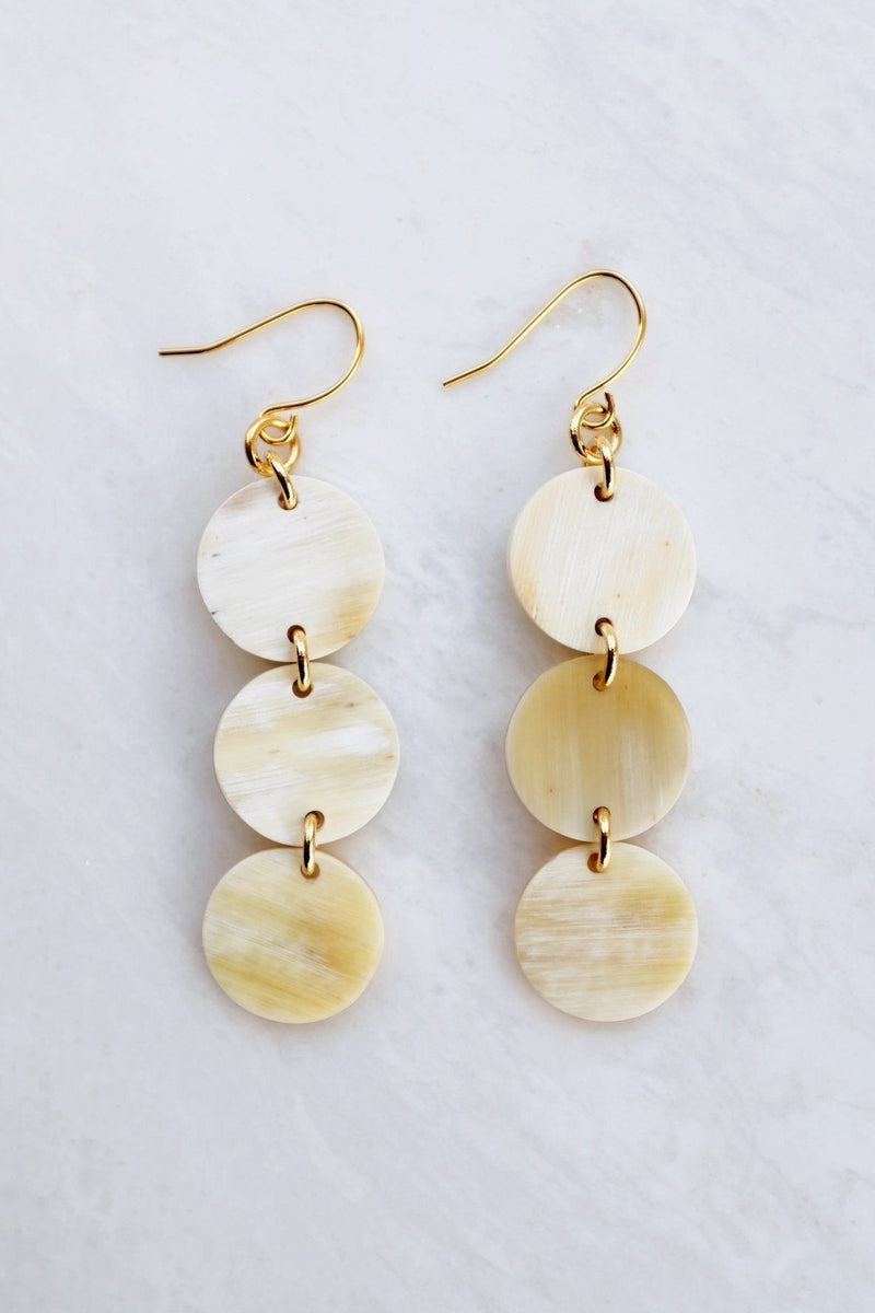 Hathorway Yen Bai 16K Gold-Plated Brass Buffalo Horn Circle Drop Earrings Earrings Hathorway