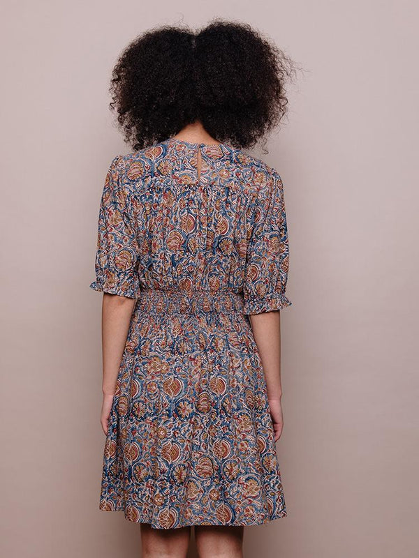 Henrietta Smocked Dress - Blue Dress Mata Traders