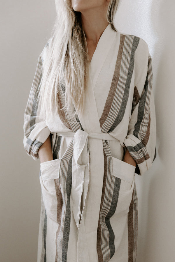 Home & Loft Brown/Cream Hudson Long Robe Robe Home & Loft