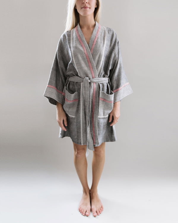 Home & Loft Charcoal Tribeca Short Robe Bedding and Bath Home & Loft