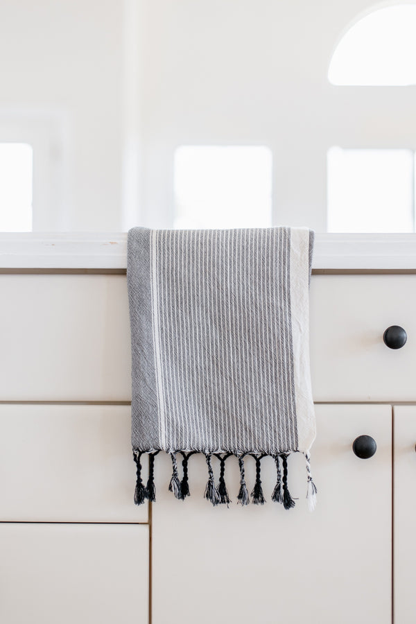 Home & Loft Grey Stripe Tribeca Hand Towel Hand Towel Home & Loft