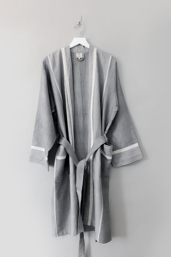 Home & Loft Grey Stripe Tribeca Long Bathrobe Robe Home & Loft
