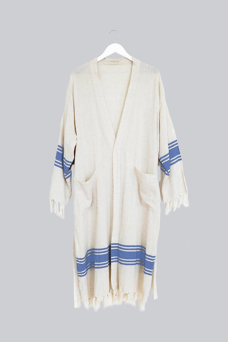 Home & Loft Linen Five Stripe Bathrobe - Natural/Blue Bathrobe Home & Loft