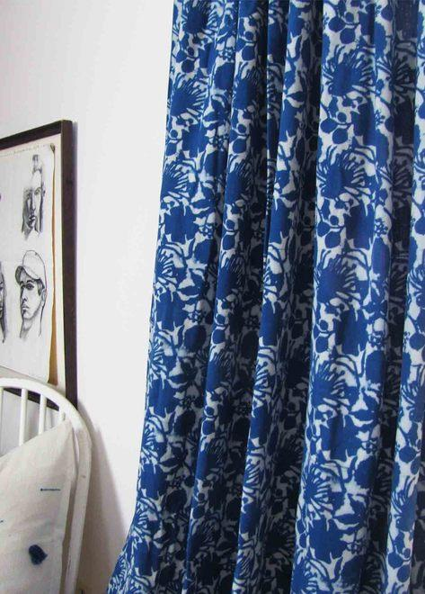Ichcha Blue Flowers Curtain Ichcha