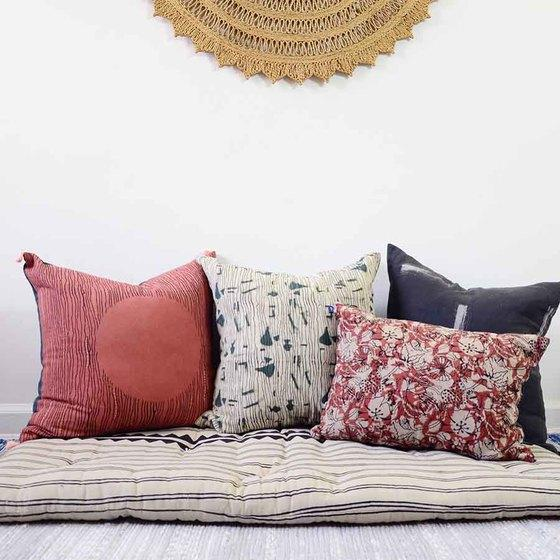 Ichcha Red Moon - block print pillow Ichcha