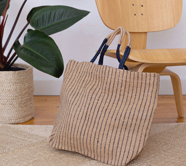 Jute Shopper - Indigo Stripes Accessories Will & Atlas