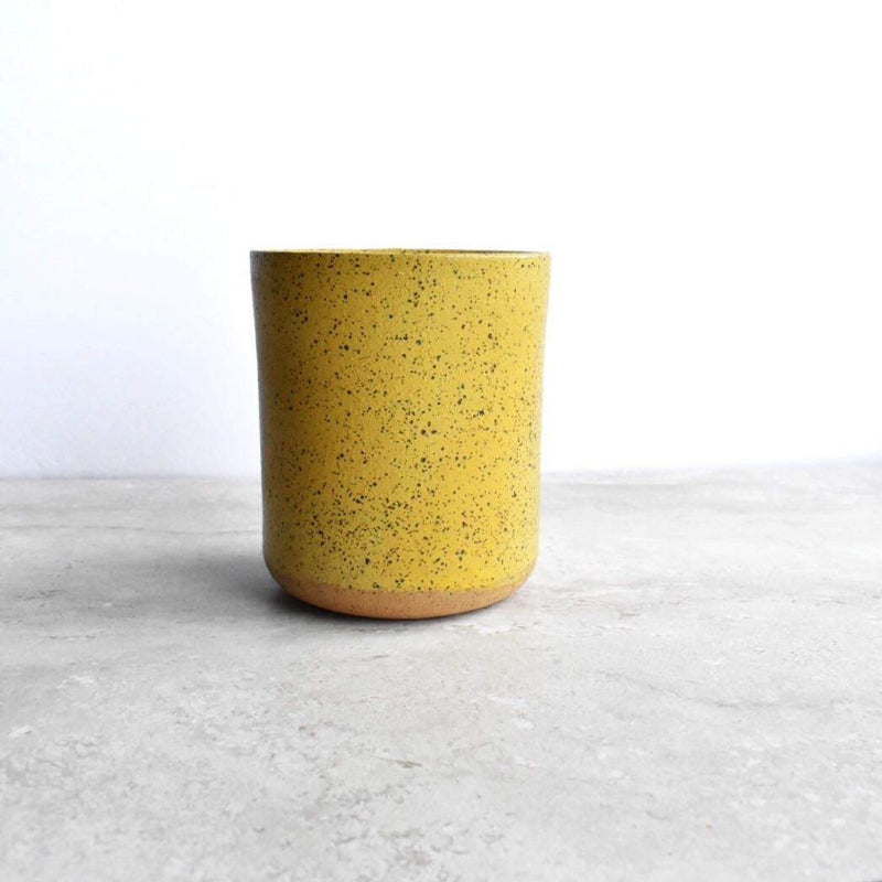Katie M Mudd Ceramics Mustard Yellow Simple Speckled Stoneware Sipper Wine Glasses Katie M Mudd Ceramics