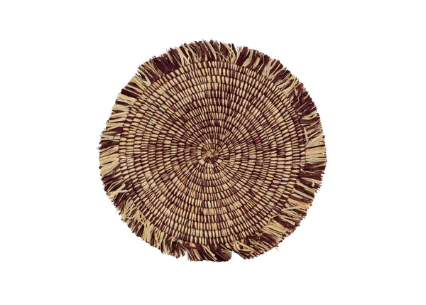 "KAZI 12"" Burgundy Heathered Fringed Charger Trivets KAZI"