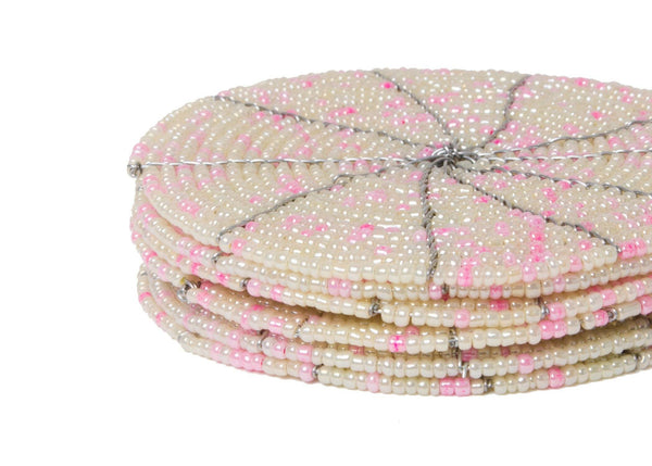 KAZI Beaded Soft Pink + Pearl Coasters KAZI