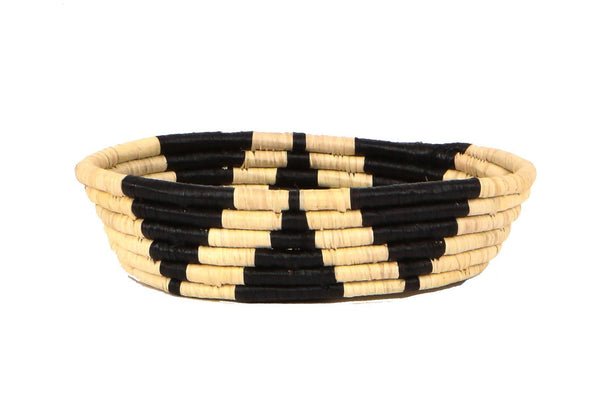 KAZI Black + Natural Petite Oval Bowl Catch All Baskets KAZI