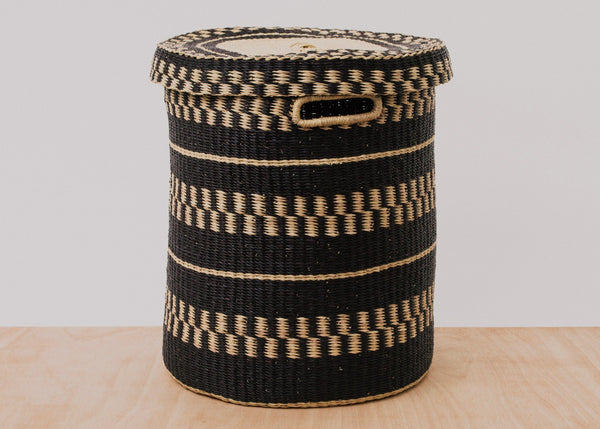 KAZI Black Patterned Grass Hamper KAZI