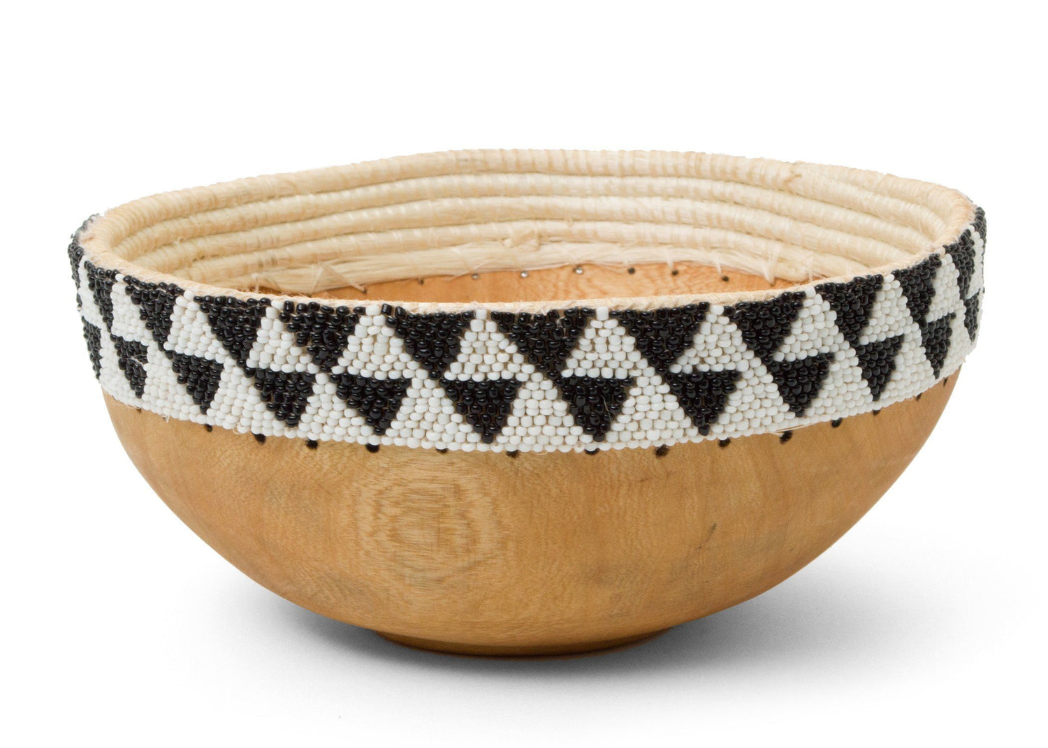 KAZI Black + White Beaded Wooden Bowl II Catch All Baskets KAZI