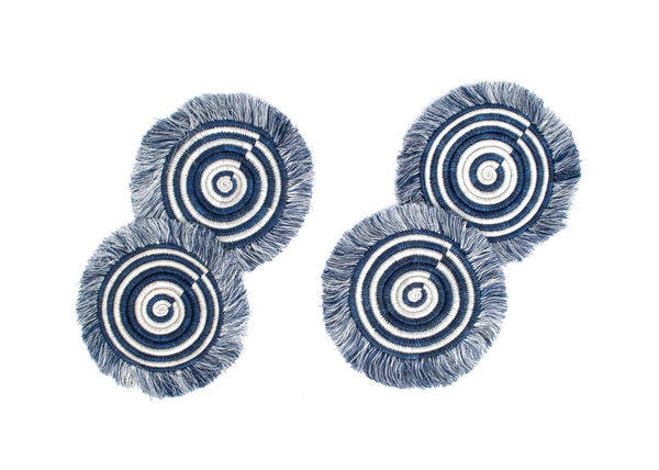 KAZI Blue Night Fringed Coasters KAZI