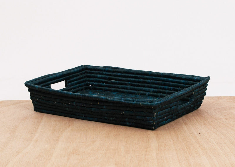 KAZI Blue Night Raffia Tray KAZI