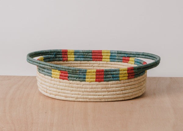 KAZI Color Blocked Dipped Raffia Oval Basket KAZI