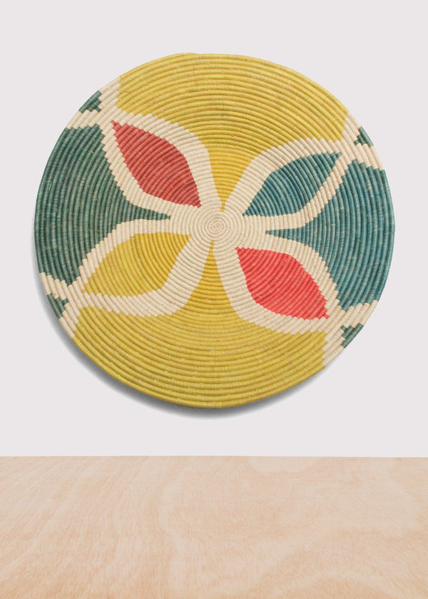 KAZI Color Blocked Extra Large Raffia Plate KAZI