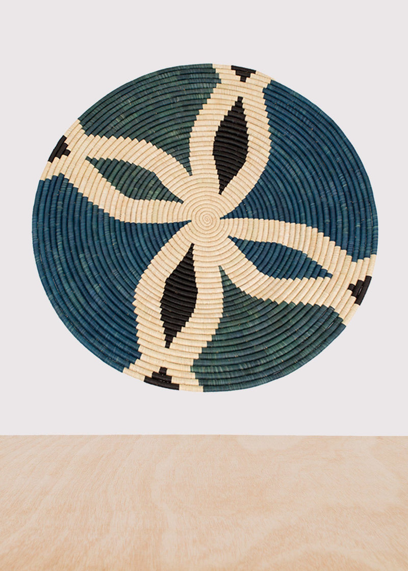KAZI Cool Color Blocked Extra Large Raffia Plate KAZI