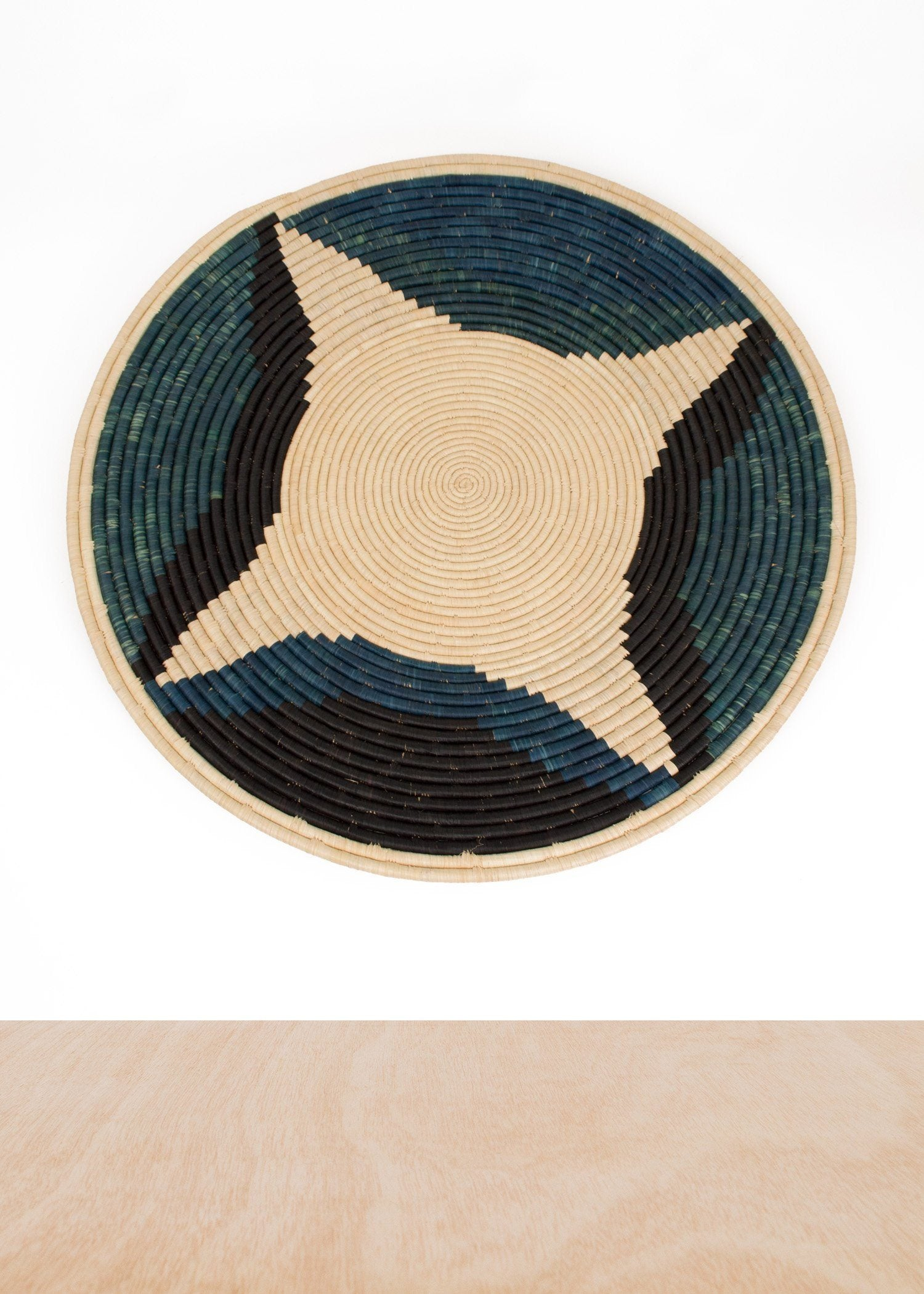 KAZI Cool Color Blocked Jumbo Raffia Plate KAZI