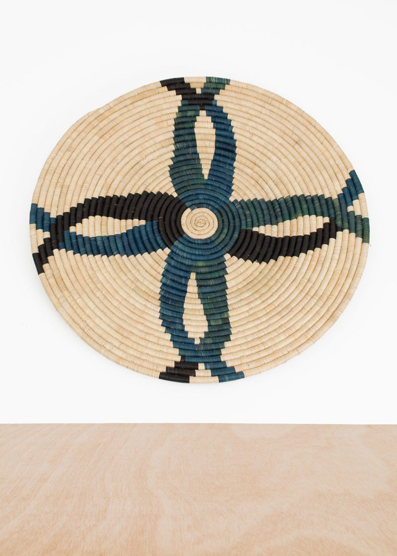 KAZI Cool Color Blocked Large Raffia Plate KAZI
