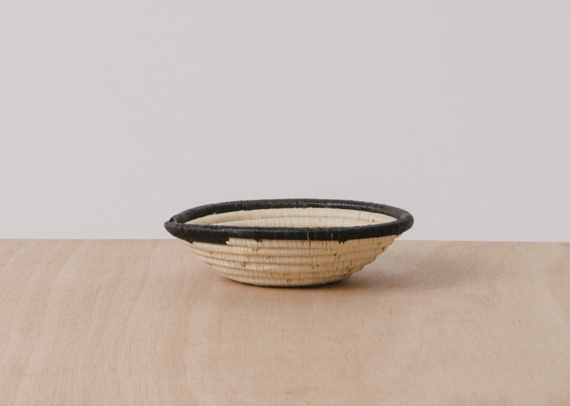 KAZI Dipped Black + Natural Small Raffia Bowl KAZI