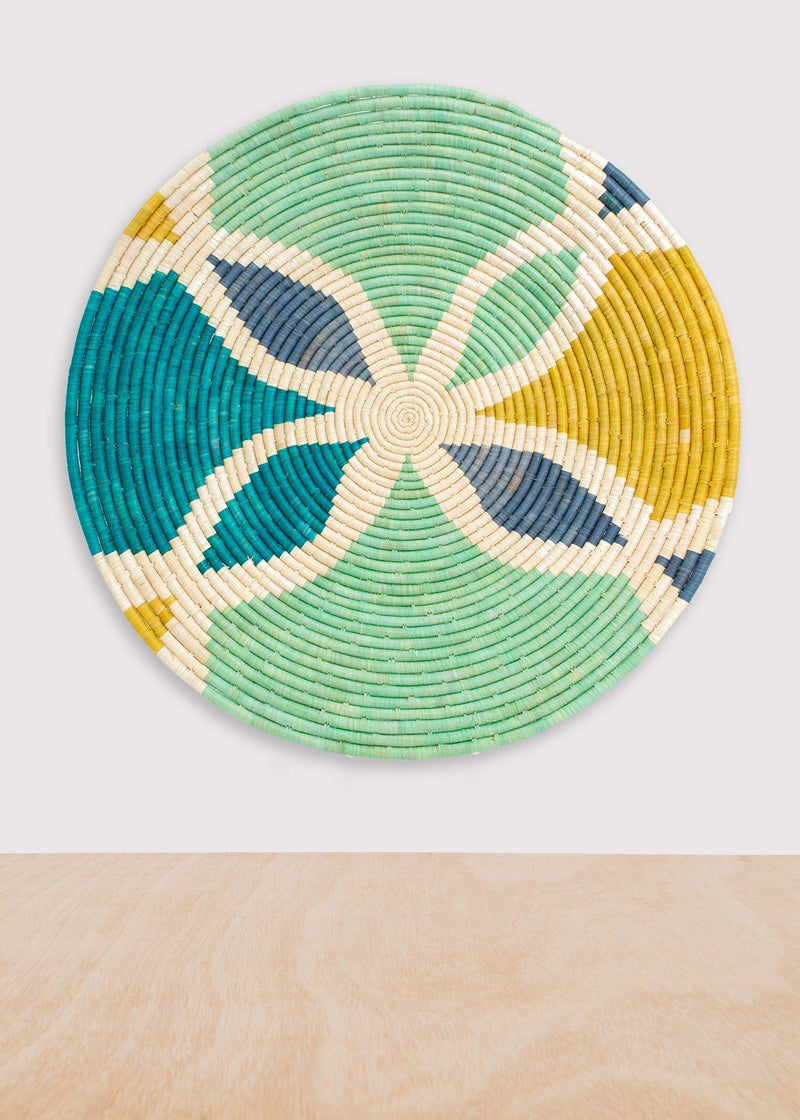 KAZI Emerald Bay Color Blocked Extra Large Raffia Plate KAZI