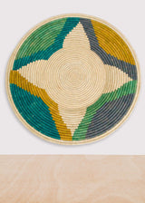 KAZI Emerald Bay Color Blocked Jumbo Raffia Plate KAZI-5009732272191