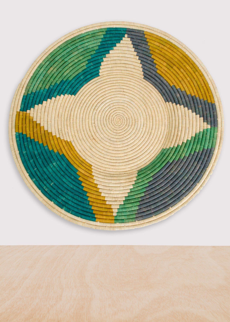 KAZI Emerald Bay Color Blocked Jumbo Raffia Plate KAZI