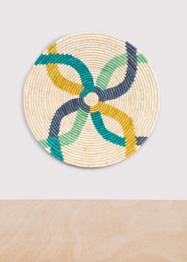 KAZI Emerald Bay Color Blocked Large Raffia Plate KAZI