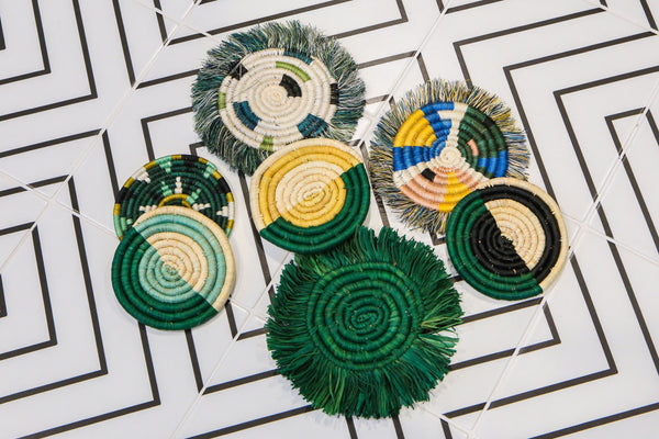 KAZI Evergreen Fringed Raffia Coasters KAZI