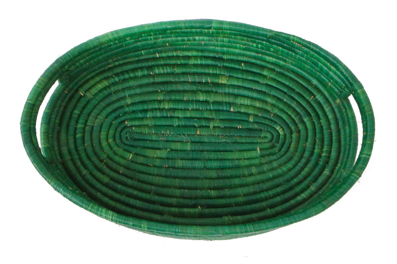 KAZI Evergreen Raffia Oval Tray KAZI