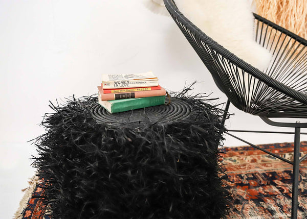 KAZI Fringed Black Stool with Frame Tables KAZI