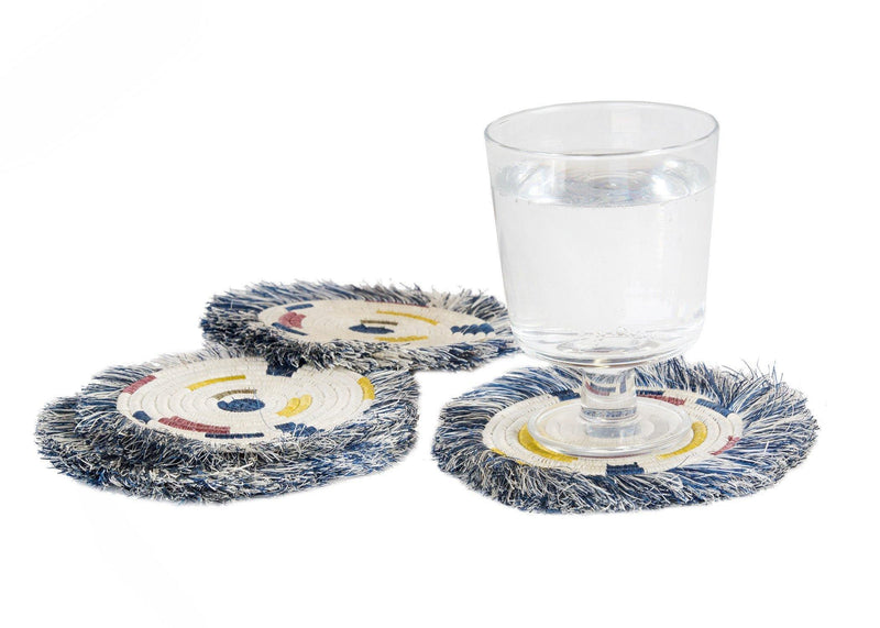 KAZI Fringed Blue Night Festival Geo Coasters, Set of 4 Coasters KAZI