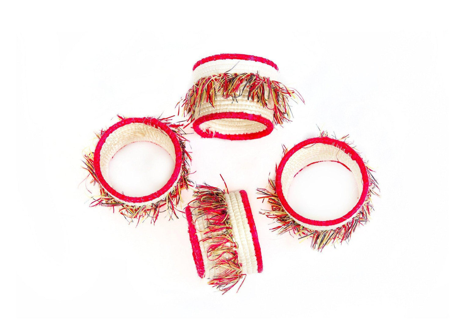 KAZI Fringed Hibiscus Napkin Rings, Set of 4 Napkin Accessories KAZI