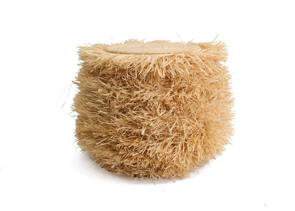 KAZI Fringed Natural Stool with Frame Tables KAZI