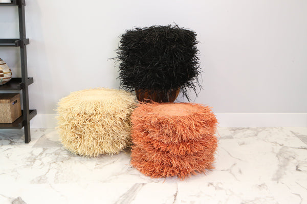 KAZI Fringed Peach Stool with Frame Tables KAZI