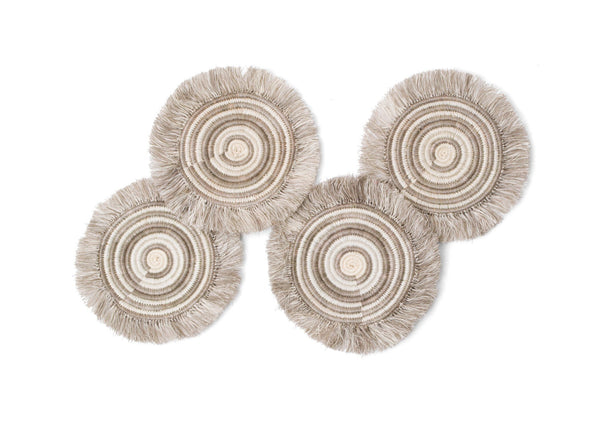 KAZI Fringed Taupe Geo Coasters, Set of 4 Coasters KAZI