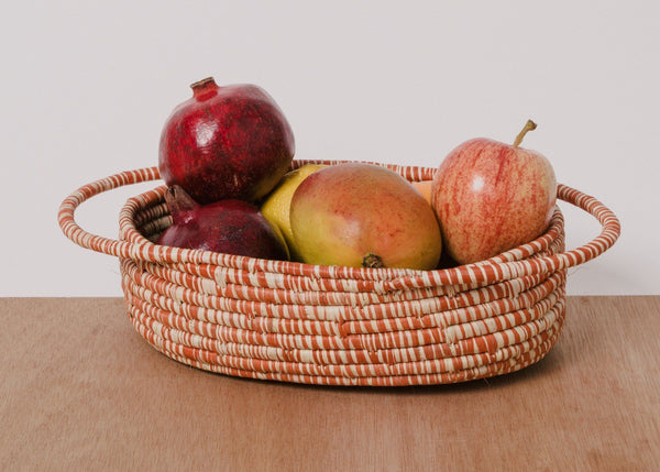 KAZI Heathered Burnt Orange Raffia Oval Basket KAZI