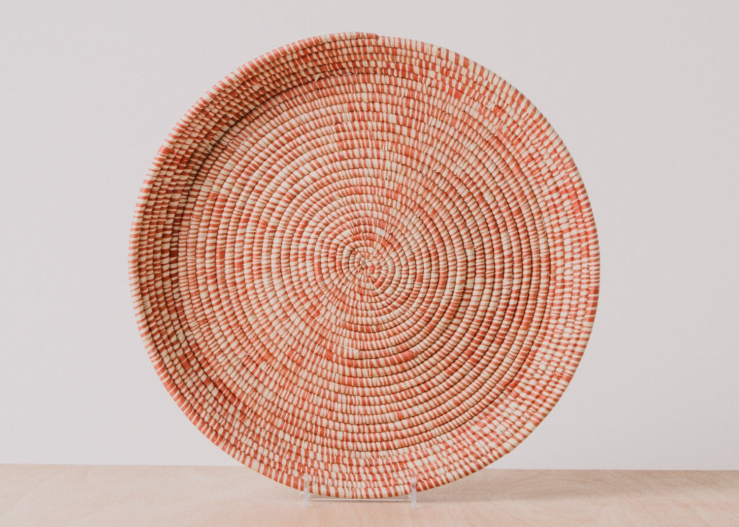 KAZI Heathered Burnt Orange Round Raffia Tray KAZI