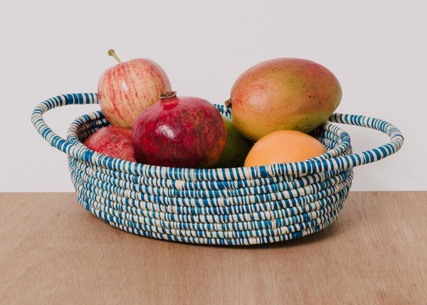 KAZI Heathered Indigo Raffia Oval Basket KAZI