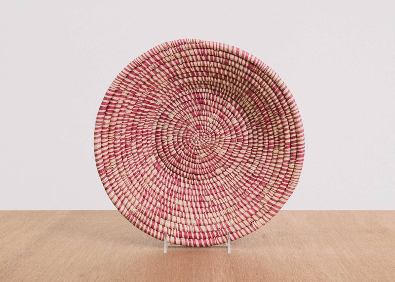 KAZI Heathered Rosette Large Raffia Bowl KAZI