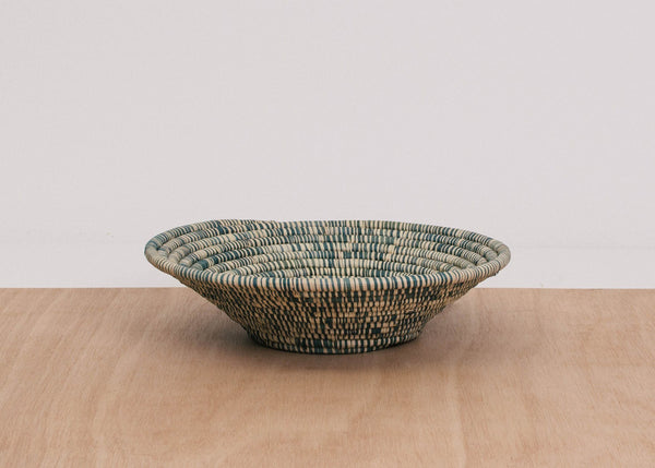 KAZI Heathered Slate Large Raffia Bowl KAZI