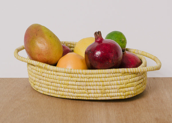 KAZI Heathered Sun Raffia Oval Basket KAZI
