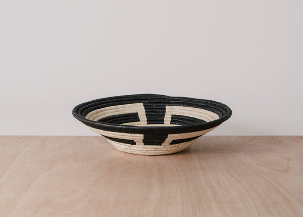 KAZI Kamba Black + Natural Raffia Large Bowl KAZI