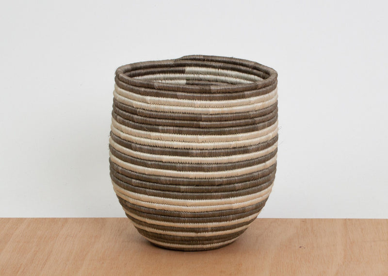 KAZI Light Taupe Striped Dunia Vase KAZI