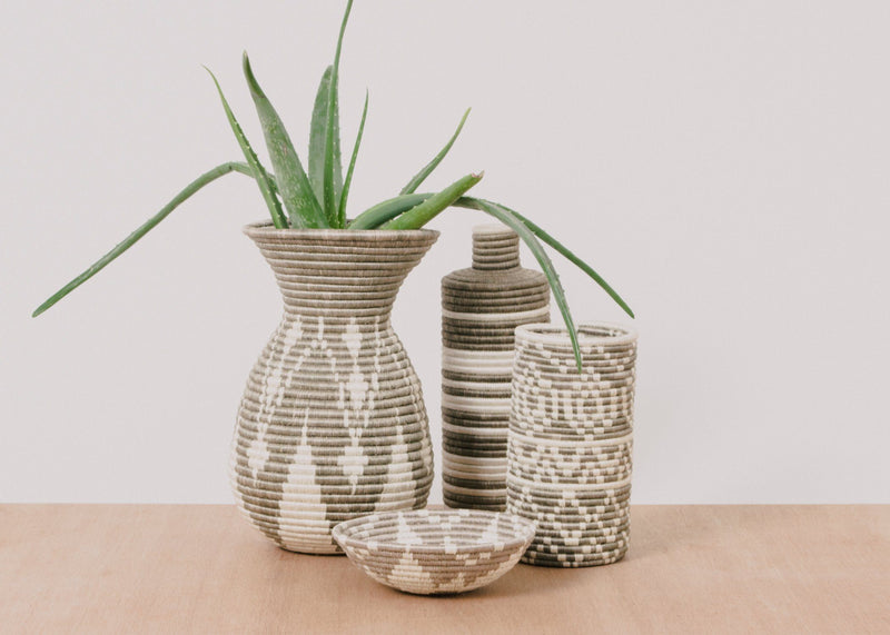 KAZI Light Taupe Striped Tall Vase KAZI