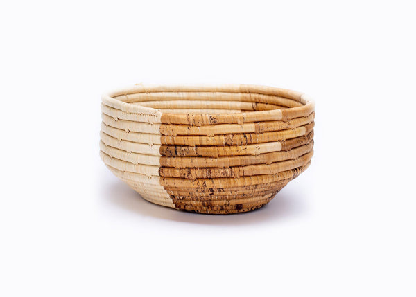 KAZI Medium Banana Leaf Half Moon Deep Round Bowl Catch All Baskets KAZI
