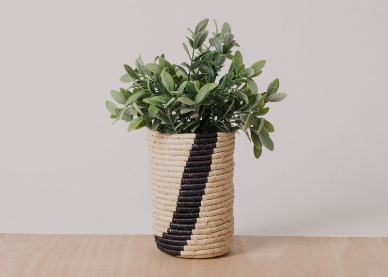 KAZI Medium Black Striped Raffia Cup KAZI