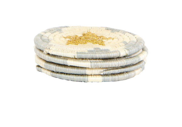 KAZI Metallic Gold Hope Coasters, Set of 4 Coasters KAZI