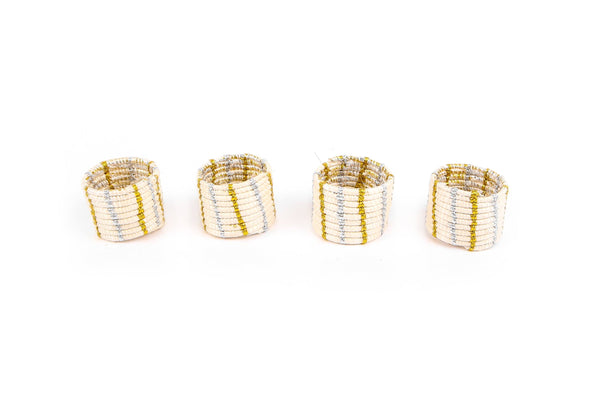 KAZI Metallic Gold + Silver Napkin Rings, Set of 4 Napkin Accessories KAZI